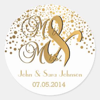 M. et Mme points d'or de | | Wedding| Sticker Rond