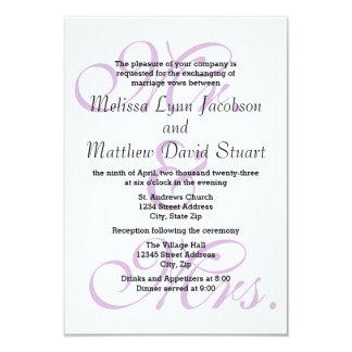 M. et Mme Purple - invitation du mariage 3x5 et de