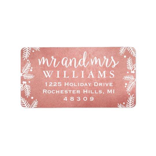 M. et Mme roses étiquettes de adresse d'or de