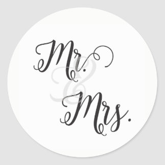 M. et Mme Wedding Stickers- noir et blanc Sticker Rond