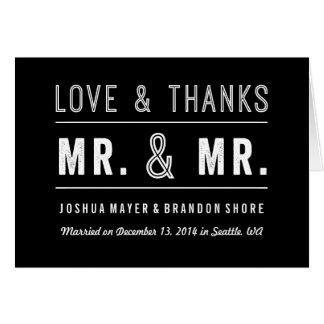 M. gai de carte de remerciements de mariage de