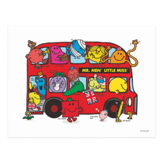 M. Men et petit Bus de Mlle Crowded Carte Postale