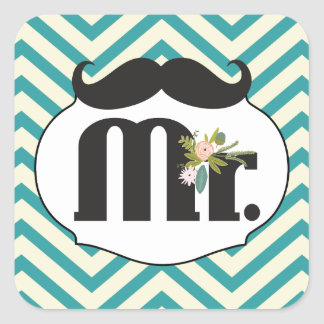 M. Moustache Hipster Pattern Sticker Carré