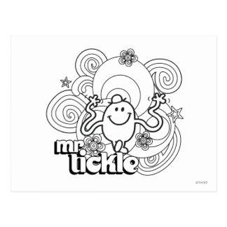 M. Tickle   noir et remous et étoiles de blanc Carte Postale