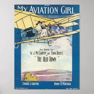 Ma couverture vintage de Songbook de fille d'aviat Posters
