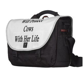 Ma fille protégera des vaches avec sa vie sacoche pour ordinateurs portables