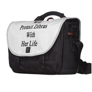 Ma fille protégera des zèbres avec sa vie sac pour ordinateur portable
