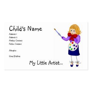 Ma petite télécarte de maman d'artiste carte de visite standard