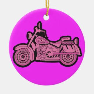 Ma première moto rose ornement rond en céramique