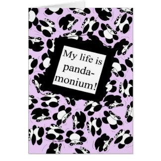 Ma vie est panda-monium - lilas carte de vœux