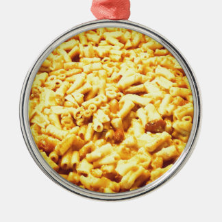 Mac et fromage végétalien… ornement rond argenté