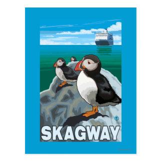 Macareux et bateau de croisière - Skagway, Alaska Carte Postale