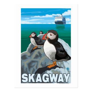Macareux et bateau de croisière - Skagway, Alaska Cartes Postales