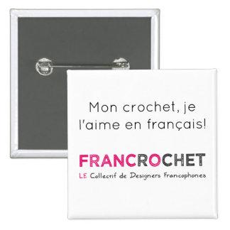 Macaron crochet en français badges