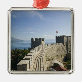 MACÉDOINE, Ohrid. Le château de Samoil de voiture Ornement Carré Argenté