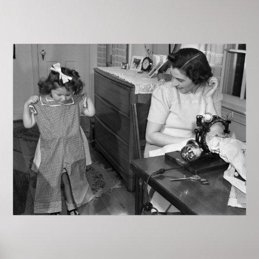 machine coudre antique les ann es 1940 poster zazzle. Black Bedroom Furniture Sets. Home Design Ideas