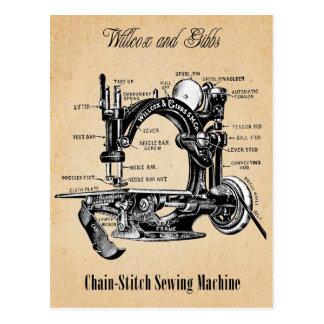 Machine à coudre de Chaîne-Point vintage Carte Postale