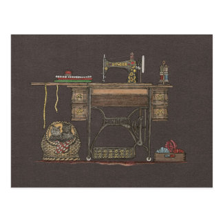 Machine à coudre et chatons de pédale carte postale