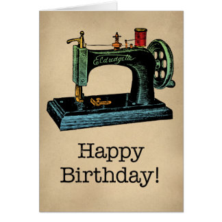 Machine à coudre vintage de joyeux anniversaire cartes