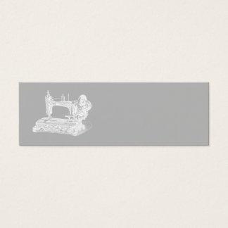 Machine à coudre vintage - gris blanc de rétros mini carte de visite