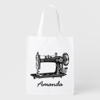 Machine à coudre vintage personnalisée sacs d'épicerie