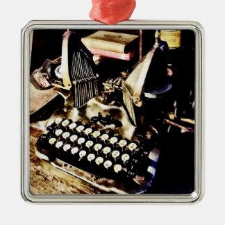 Machine à écrire antique Oliver #9 Ornement Carré Argenté
