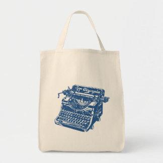Machine à écrire bleue vintage sacs de toile