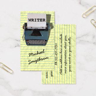 Machine à écrire d'auteur d'auteur rétro sur le cartes de visite
