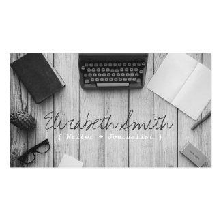 Machine à écrire noire et blanche vintage d'auteur carte de visite standard