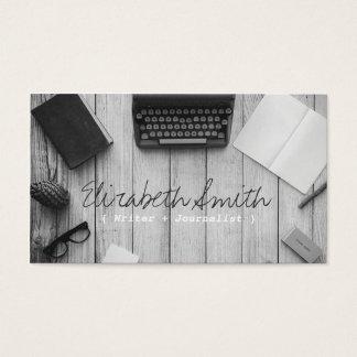 Machine à écrire noire et blanche vintage d'auteur cartes de visite