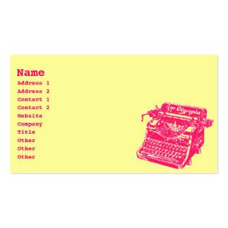 Machine à écrire vintage carte de visite standard