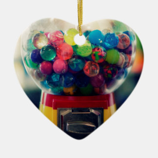 Machine de jouet de bubblegum de sucrerie rétro ornement cœur en céramique