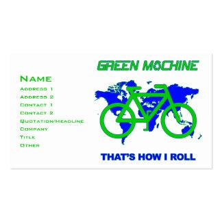 Machine verte cartes de visite personnelles