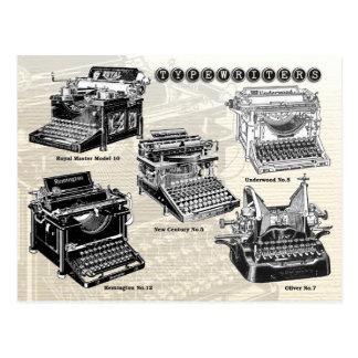 Machines à écrire vintages - illustrations carte postale