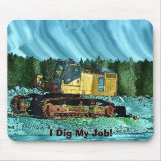 Machines agricoles, tracteur, pelle rétro, tapis de souris