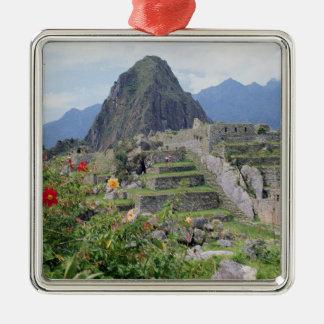 Machu Picchu, Pérou Ornement Carré Argenté