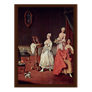 Madame At Her Toilette By Longhi Pietro Carte Postale