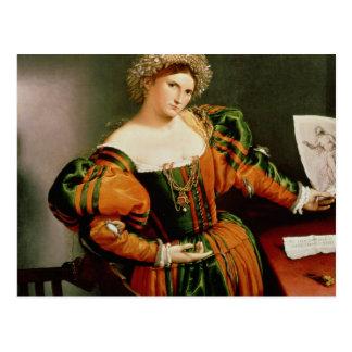 Madame avec un dessin de Lucretia, c.1530-33 Carte Postale