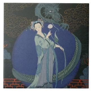 Madame avec un dragon (litho de couleur) grand carreau carré