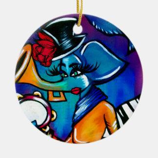 Madame bariolée d'éléphant ornement rond en céramique
