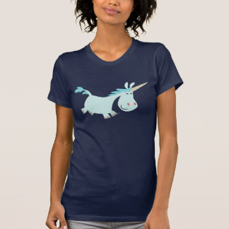 Madame bleue T-shirt de licorne de bande dessinée