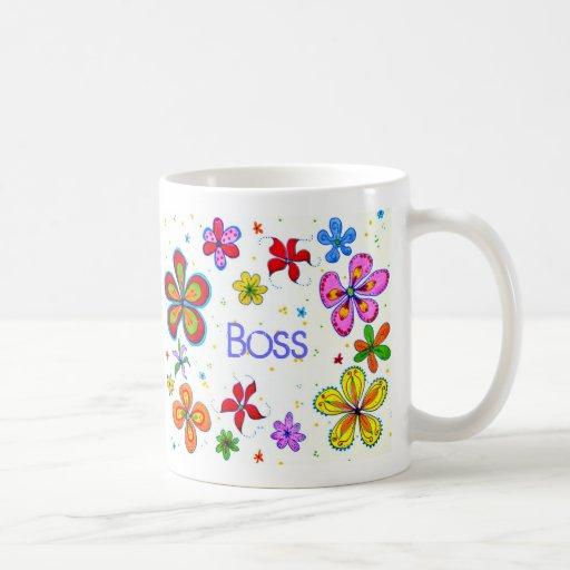 Madame Boss, grande tasse de café de fleurs