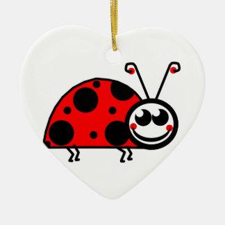 Madame Bug Ornement Cœur En Céramique