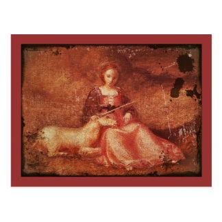 Madame Chastity Holding Unicorn Cartes Postales