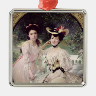 Madame Collas et sa Daughter, Giselle, 1903 Ornement Carré Argenté
