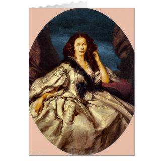 Madame dans la robe victorienne carte de vœux