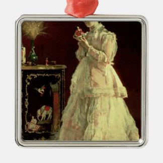 Madame dans le rose, 1867 ornement carré argenté