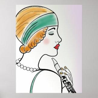 Madame d'art déco avec la clarinette poster