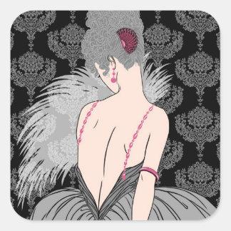 Madame d'art déco avec la damassé - BIANCA : Gris Sticker Carré