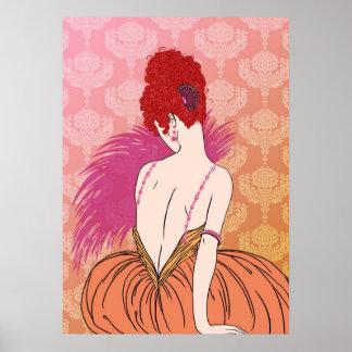 Madame d'art déco avec la damassé - BIANCA : Mélan Poster